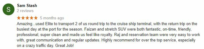 Elite limousine 5 star review and rating Surrey BC